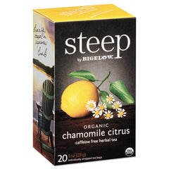 Bigelow® steep Tea, Chamomile Citrus Herbal, 1 oz Tea Bag, 20/Box