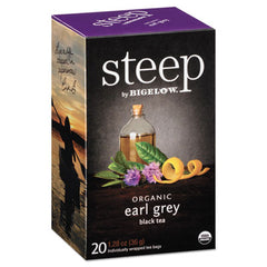 Bigelow® steep Tea, Earl Grey, 1.28 oz Tea Bag, 20/Box