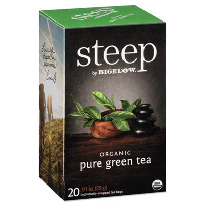 Bigelow® steep Tea, Pure Green, 0.91 oz Tea Bag, 20/Box