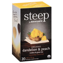 Bigelow® steep Tea, Dandelion & Peach, 1.18 oz Tea Bag, 20/Box