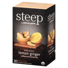 Bigelow® steep Tea, Lemon Ginger, 1.6 oz Tea Bag, 20/Box