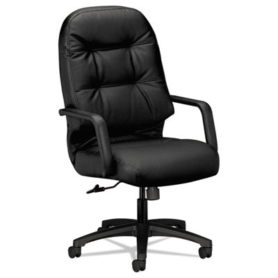 Chairs/Stools-Office Chair - HON® Pillow-Soft® 2090 Series Leather Executive High-Back Swivel/Tilt Chair Black - Office Ready