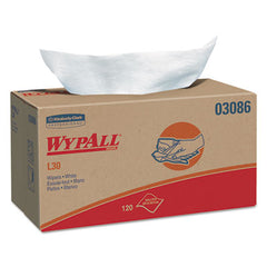 WypAll* L30 Wipers 10 x 9 4/5, White, 120/POP-UP Box, 10 Boxes/Carton
