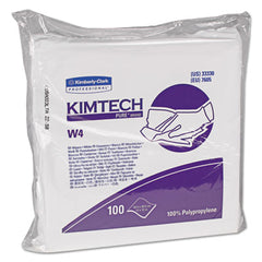 Kimtech* W4 Critical Task Dry Wipers Flat Double Bag, 12x12, White, 100/Pack, 5 Packs/Carton