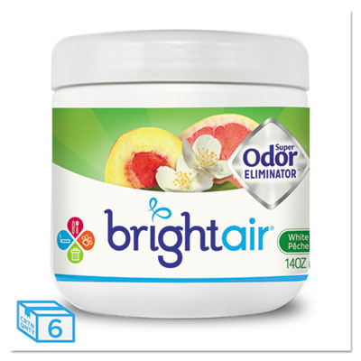 Air Fresheners/Odor Eliminators-Gel - BRIGHT Air® Super Odor™ Eliminator White Peach and Citrus, 14oz, 6/Carton - Office Ready - 1