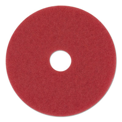 Floor Pads-Burnish/Buff - Boardwalk® Standard Floor Pads Red, 5/Carton - Office Ready
