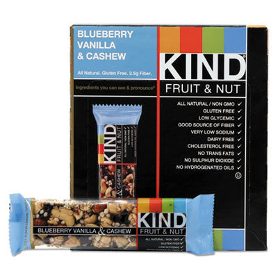 KIND Fruit and Nut Bars Blueberry Vanilla and Cashew, 1.4 oz Bar, 12/Box