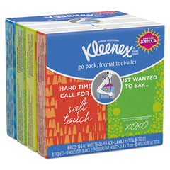Kleenex® Go Pack Pocket Pack Facial Tissue 3-Ply, White, 10/Pouch, 8 Pouches/Pack, 12/Ctn