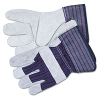 Memphis™ Men's Split Leather Palm Gloves Large, Gray, Pair Gloves-Work, Leather - Office Ready