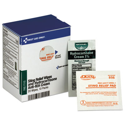 First Aid Only™ Refill For Smartcompliance™ General Business Cabinet,20 Sting Relief Wipes,10 Hydrocortisone Packs