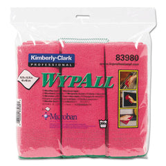 WypAll® Microfiber Cloths, Reusable, 15 3/4 x 15 3/4, Red, 6/PK, 4 PK/CT