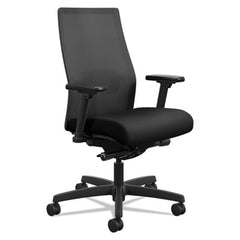 HON® Ignition® 2.0 Ilira®-Stretch Mid-Back Mesh Task Chair, Black Fabric Upholstery