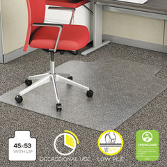 Alera® Studded Chair Mat for Flat Pile Carpet, 45 x 53, Wide Lipped, CR