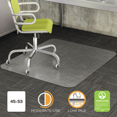 deflecto® DuraMat® Moderate Use Chair Mat for Low Pile Carpeting, Low Pile Carpet, Flat, 45 x 53, Rectangle, CR