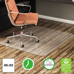 deflecto® EconoMat® Non-Studded All Day Use Chair Mat for Hard Floors, 45 x 53, Rectangular, Clear