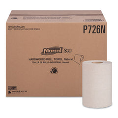 "Marcal PRO™ 100% Recycled Hardwound Roll Paper Towels, 1-Ply, 7 7/8"" x 600ft, 12 Rolls/Pack,12 Pack/Carton"
