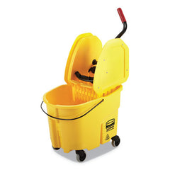 Rubbermaid® Commercial WaveBrake® 2.0 Bucket/Wringer Combos, Down-Press, 8.75 gal, Plastic, Yellow