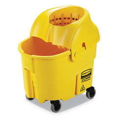 Rubbermaid® Commercial WaveBrake® 2.0 Bucket/Wringer Combos, Down-Press, 35 qt, Plastic, Yellow