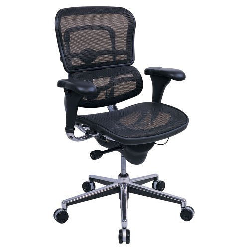 Chairs/Stools-Office Chair - Eurotech Seating Ergohuman Collection High Back Ergonomic Chair in Black Mesh - Office Ready