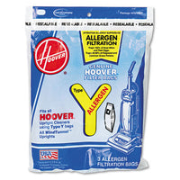 Hoover® Commercial Disposable Allergen Filtration Bags For Commercial Bag-Style WindTunnel™ Upright Vacuum, 3PK/EA