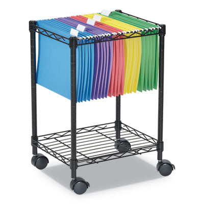 Alera® Rolling File Cart, 15 1/4w x 12 3/8d x 21h, Black Carts & Stands-Filing Cart - Office Ready