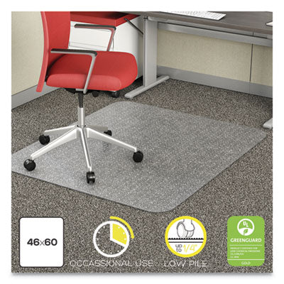 deflecto® EconoMat® Occasional Use Chair Mat for Commercial Flat Pile Carpeting, Low Pile Carpet, Roll, 46 x 60, Rectangle, CR