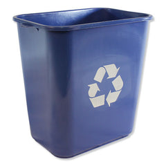 Impact® Soft-Sided Recycle Logo Plastic Wastebasket, Rectangular, 28 qt, Polyethylene, Blue