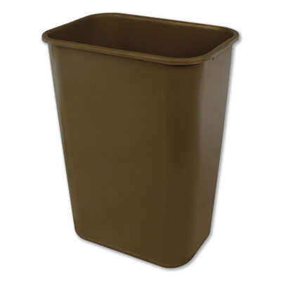 Impact® Soft-Sided Wastebasket, Rectangular, Polyethylene, 41 qt, Beige Waste Receptacles-Deskside All-Purpose Wastebaskets - Office Ready