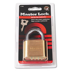 "Master Lock® Resettable Combination Padlock, 2"" Wide, Brass"