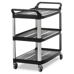 Rubbermaid® Commercial Open Sided Utility Cart Three-Shelf, 40-5/8w x 20d x 37-13/16h, Black