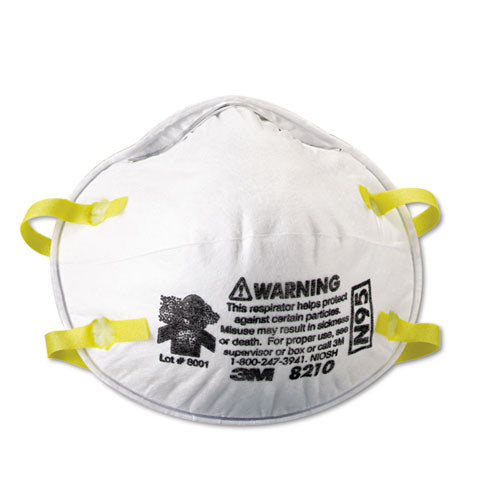 Genuine 3M 8210 N95 Respirator Mask, 20/BX  - Office Ready