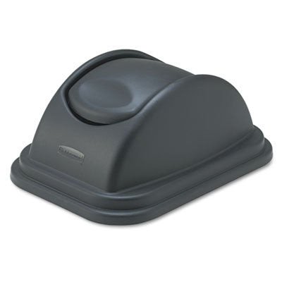Rubbermaid® Commercial Rectangular Free-Swinging Lids Black Waste Receptacle Lids-Flat Rectangle, Hinged - Office Ready