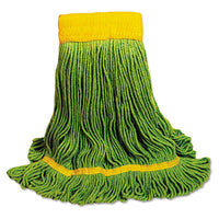 Mop Heads-Wet - Boardwalk® EcoMop Head Recycled Fibers, Medium Size, Green, 12/Carton - Office Ready