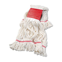Mop Heads-Wet - Boardwalk® Super Loop Wet Mop Head Cotton/Synthetic, Large Size, White, 12/Carton - Office Ready - 1