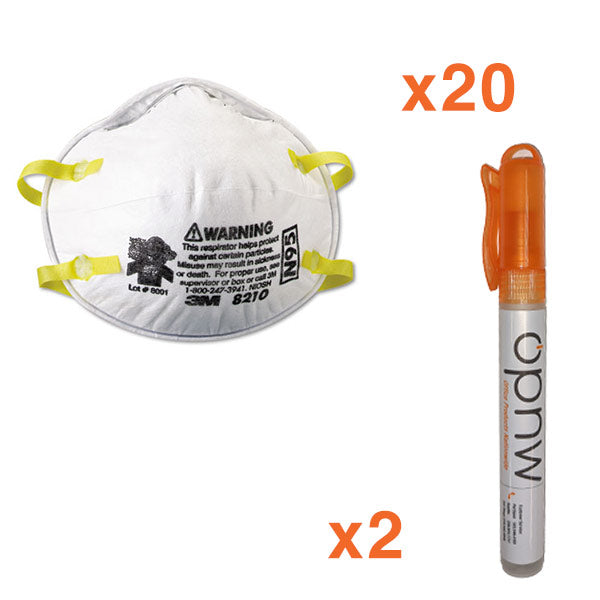 3M N95 Respirator Mask 8210, 20/BX Spray Pen Bundle  - Office Ready