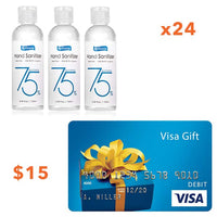 FDA Approved 75% Alcohol Hand Sanitizer, 3.38oz bottles, 24/ CS & $15 Visa gift card Bundle  - Office Ready