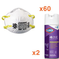 3M N95 Respirator Mask 8210, 60/BX Clorox Spray Bundle  - Office Ready