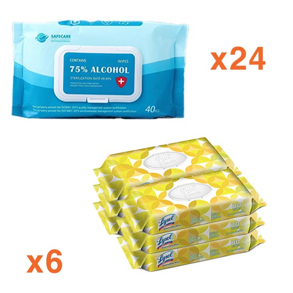 75% Alcohol Sanitizing Wipes, 40/ea, 24/CS & Lysol Flat Pack BUNDLE  - Office Ready