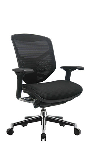 Eurotech Concept 2.0 Ergonomic Mid Back Mesh Chair - Black