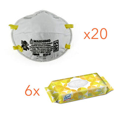 3M N95 Masks, 8210, 20/BX with FREE Lysol Wipes