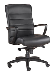 Eurotech Manchester Mid Back Leather Chair - Black