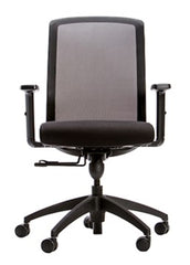 Mesh Task Chair, Height-adjustable arms, 250lb weight capacity, Black