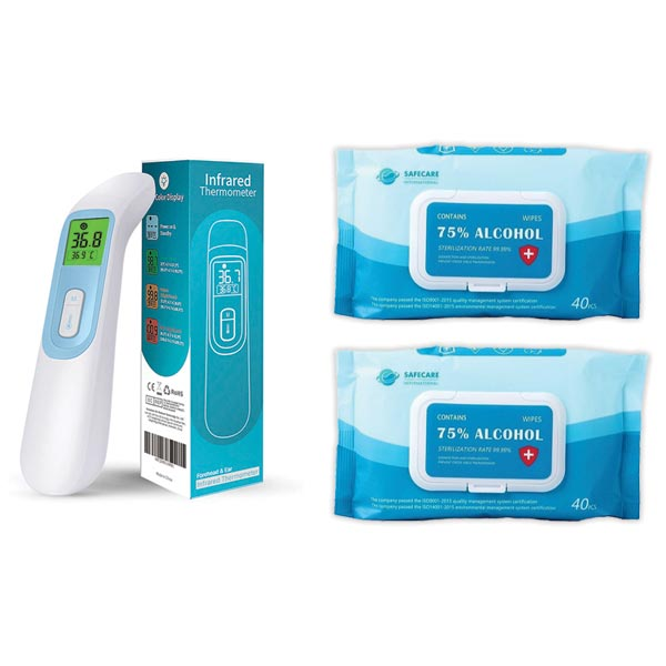 Infrared Thermometer & Alcohol Wipes Bundle  - Office Ready