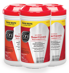 Sani-Wipe No-Rinse Sanitizing Multi-Surface Wipes Food Safe 175/can, 6/CT