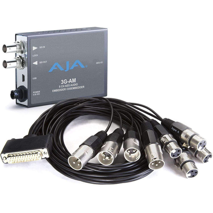 AJA Embedders & De-Embedders AJA 3G-AM 8-Channel AES Embedder/Disembedder with XLR Breakout Cable