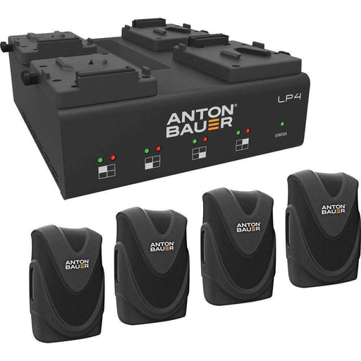 Anton Bauer Anton Bauer Anton Bauer LP4 Quad Charger with 4 Digital 90 Batteries V-Mount Kit