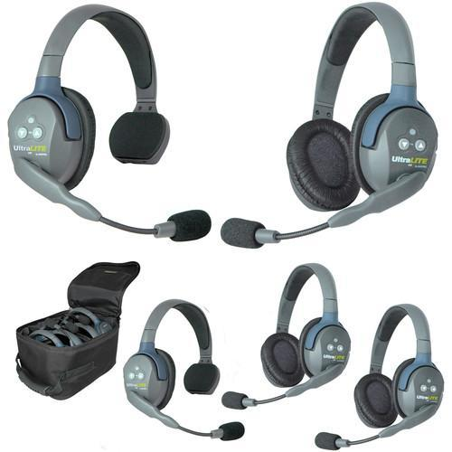 Eartec IFB & Communications Eartec UL523 5-Person Full-Duplex Wireless Intercom with 2 UltraLITE Single-Ear & 3 UltraLITE Dual-Ear Headsets