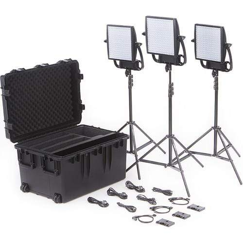 Litepanels Continuous Lighting Litepanels Astra 3X Traveler Bi-Color Trio 3-Light Kit with Gold Mount Battery Brackets