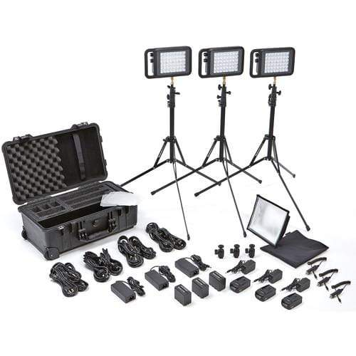 Litepanels Continuous Lighting Litepanels Lykos Bi-Color Flight Kit with Battery Bundle with UK AC Adapter