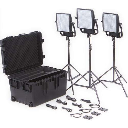 Litepanels LED Light Kit Litepanels Astra 6X Traveler Bi-Color Trio 3-Light Kit with V-Mount Battery Plates